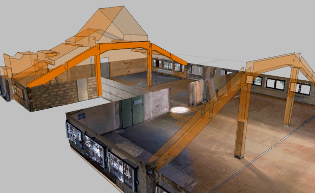 As-Built_Modeler, VEM factory hall, glass roof, point cloud and CAD
